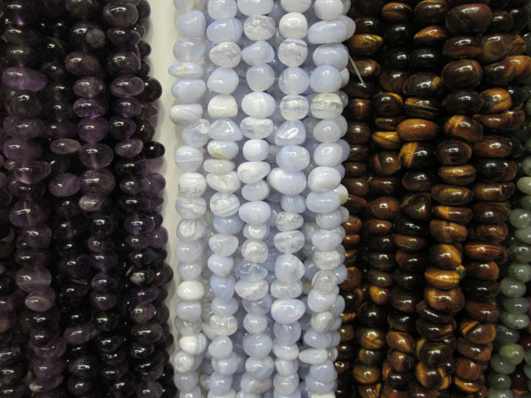 Dark amethyst Blue lace agate Yellow tiger eye tumbled nuggets beads strands