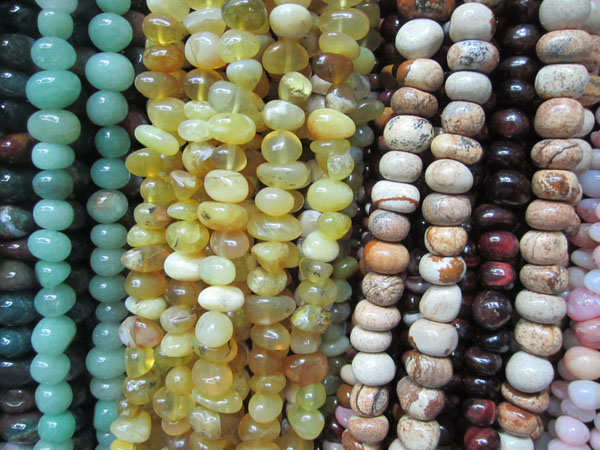Yellow Opal Picture jasper Red tiger eye tumbled nuggets strands