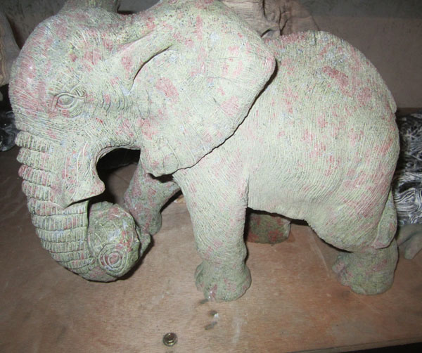 Unakite 9 inch detailed elephants