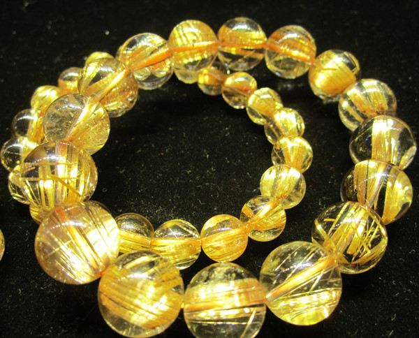 Top Quality Rutilated Quartz Bracelets 13.5mm to 10mm