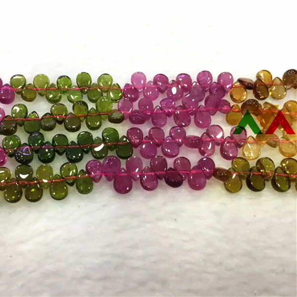 Multi-color Tourmaline Fan-shaped sector 5x7mm high quality beads strands