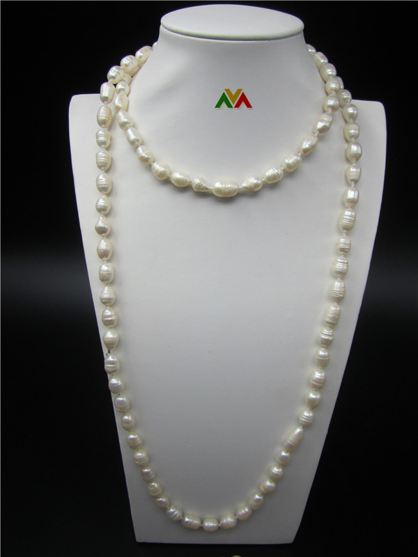 Rice shaped Pearl Sweater Chain 120cm white color Pearls