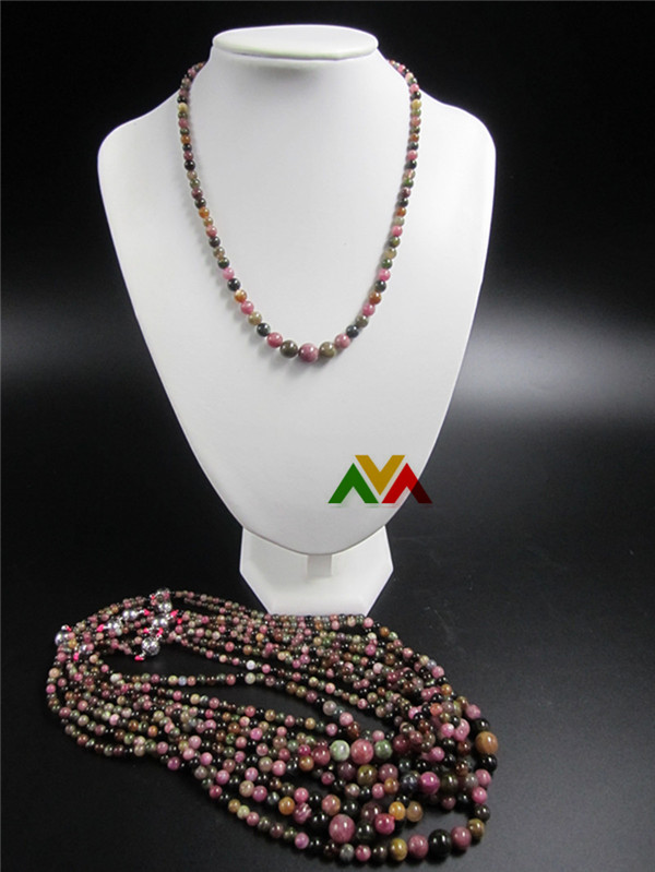 Multi Color Tourmaline AB Round Beads Tower Shaped Necklaces