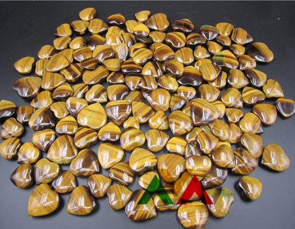 Yellow Tiger Eye A Hearts 20-40mm