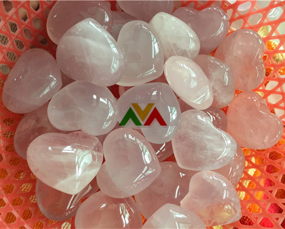 Rose Quartz Puffy Hearts 40mm